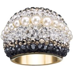 Swarovski Chic Royalty Swarovski Crystal & Crystal Pearl Dome Ring -... (€88) ❤ liked on Polyvore featuring jewelry, rings, cream pearl clear crystal jet, pearl jewellery, dome ring, tri color ring, swarovski jewelry and crystal band ring