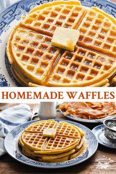 Homemade Waffles Homemade Waffles, Savory Pancakes, Breakfast Waffles, Pancakes And Waffles, Easy Waffle Recipe, Waffle Recipes, Waffle Toppings, Waffle Mix, Chicken N Waffles