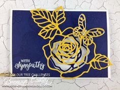 handmade card from addINKtive designs: A Rose Garden Window Card  .... stained glass lines roses ... navy, yellow and white ... Stampin' Up!
