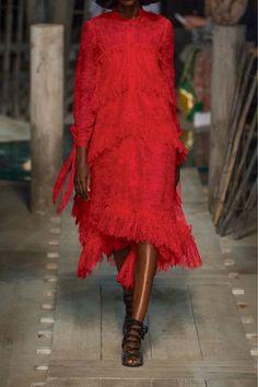 Erdem - Nigella Ruffled Lace Dress - Red - UK8