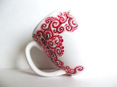 Paisley Hand Painted Mug -Single Large Personalized Coffee Cup via Etsy
