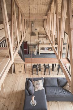Compact cabin in the wilderness built with local pine wood and plywood in Aisén Province, Aisén Region, Chile - Home Design and Decoration Home Interior Design, Interior Architecture, Interior Decorating, Chalet Interior, Decorating Ideas, Room Interior, Wooden House Design, Timber Structure, Wooden Sheds