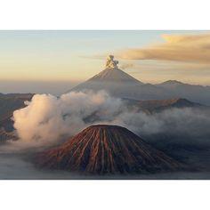 'Volcanoes Volcano in the Fog, Java' by Bruno Morandi Painting Print Painting Frames, Painting Prints, Art Prints, Canvas Artwork, Canvas Prints, Java, Graphic Art, Beautiful Homes, Volcanoes