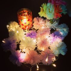 ✌︎ #フェアリーライト #fairylights #DIY  #relaxingtime #paperflowers