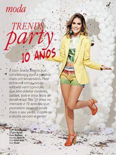 Editorial de Moda da edição de aniversário, com uma festa de tendências.
