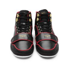 CREATIVE RECREATION - BLACK PERF LTR W CROC TRIM HICUT CESSARIO  Tough looking boots by Creative Recreation in black with a touch of red and gold embellishment for those with an adventurous and colorful streak. Cargo pants or military pants or loose shorts compliment them well.  http://www.BrandsnDeals.com/