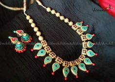 Terracotta Jewelry Metallic Pearl Green Red and Gold by Varnakala