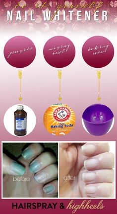 Nail Polish Stained Nails? Follow this quick and easy DIY Nail Whitener Tutorial to get rid of the stain in 60 seconds! It really works!