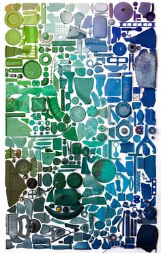 Collages made of found objects by artist Gilles Cenazandotti and photos by Thierry Lede
