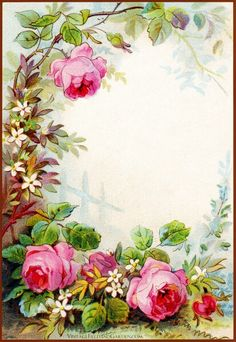 Vintage Field & Garden: Illustrated Border: Flowers in a Victorian Cottage Garden Gift Tag ( of Frame Background, Paper Background, Background Vintage, Picture Postcards, Picture Frames, Vintage Pictures, Vintage Images, Red And Pink Roses, Sweet Sixteen Invitations