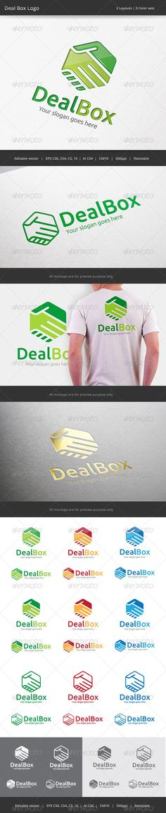 Deal Box Hand Shake  - Logo Design Template Vector #logotype Download it here: http://graphicriver.net/item/deal-box-hand-shake-logo/7506272?s_rank=1436?ref=nesto
