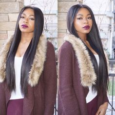 Color: 1BVolume: High (6 bundles)Texture: StraightTop: Lace Frontal (color is a light tan) Knots are bleached.Length: 22 InchesThis Peruca is a high volume, easy to style unit. This unit can be worn in the middle and on the side. Same Peruca, countless easy styles. We have attached flexible combs and elastic bands for added security and confidence. This Peruca is wefted on a mesh dome cap and can be straightened, dyed, and curled.