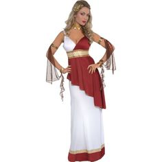 Fancy Dress - Adult Female Imperial Empress Costume: Includes toga dress, belt, choker and armbands Toga Fancy Dress, Toga Dress, Toga Costume, Costume Sexy, Adult Costumes, Costumes For Women, Greek Costumes, Halloween Costumes, Halloween City