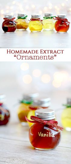 Homemade Extract Ornaments!! Such a cute and unique Christmas gift with homemade all natural extracts! The little jars look like ornaments with ribbons attached