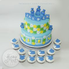 Baby Boy Christening Themed Cake and Cupcakes Baby Boy Christening, Christening Cakes, Cupcake Cakes, Cupcakes, Themed Cakes, Birthday Cake, Buttons, Desserts, Food