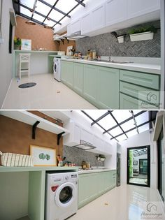 153 laundry design ideas with drying room that you must try -page 2 Dirty Kitchen Design, Kitchen Room Design, Home Room Design, Outdoor Kitchen Design, Home Decor Kitchen, Kitchen Interior, House Design, Dirty Kitchen Ideas, Extension Veranda