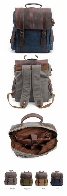 HIGH SCHOOL CANVAS BACKPACK, LEATHER CANVAS BACKPACK,TRAVEL BACKPACK