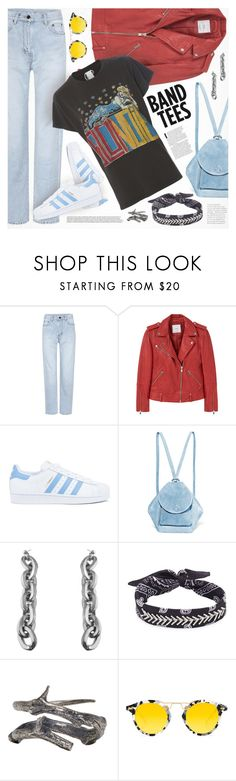 """""""239. I'm With the Band: Band T-Shirts"""" by auroram ❤ liked on Polyvore featuring Yves Saint Laurent, MANGO, adidas, MANU Atelier, Fallon, Pearls Before Swine, Krewe and MadeWorn"""