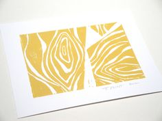 4 x 6 - Hand-pulled Linocut - Golden Mustard Yellow Abstract Wood Grain Inspired Block Print - Donation - Art - Nature - Decor. $12.00, via Etsy.