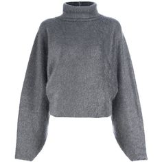 HAIDER ACKERMANN DRAPED TURTLE NECK SWEATER ($585) ❤ liked on Polyvore featuring tops, sweaters, jumper, outerwear, grey sweater, grey turtleneck, grey long sleeve sweater, gray top and long sleeve jumper