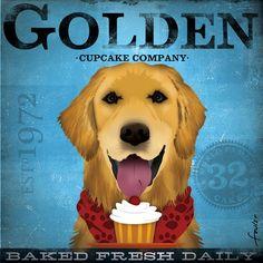 Golden Retriever Cupcake Company original graphic art illustration on canvas 12 x 12 by gemini studio