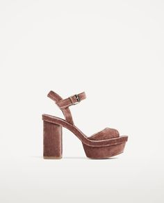 cc3aee3d VELVET PLATFORM SANDALS-Heeled sandals-SHOES-WOMAN | ZARA United States  Terciopelo,