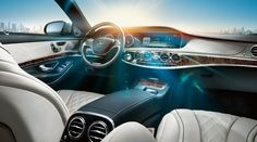 Horizontal elements and lines in the interior create an ambiance with visible width and formal calm. [Fuel consumption (combined): 10.3-5.5 l/100km | CO2-emission (combined): 242-146 g/].  http://mb4.me/Efficiency-Statement/
