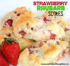 Echoes of Laughter: Strawberry Rhubarb Scones for Spring.try with white chocolate chips! Rhubarb Scones, Lemon Scones, Rhubarb Rhubarb, Rhubarb Crumble, Strawberry Rhubarb Recipes, Rhubarb Desserts, Baking Scones, Bread Baking, Pumpkin Scones