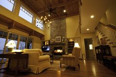 massive stone fireplace built ins | Projects - Coyle Modular Homes
