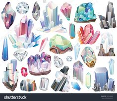 Minerals, Crystals, Gems, And Diamonds Isolated Vector Set - 387048868 : Shutterstock