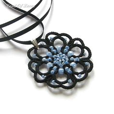 Black pendant tatted lace rosette by LandOfLaces