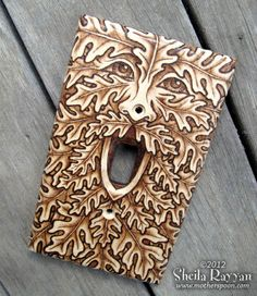 Wood Switchplate Cover - Green Man Pyrography