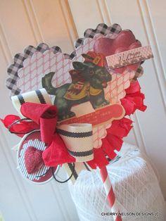 cottage valentine SCOTTISH TERRIER topper wand-handmade valentine decor