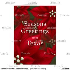 texas poinsettia seasons greetings christmas - Christmas Cards For Clients