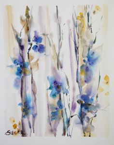 Call Me With Original Watercolor Painting Abstract by CanotStop, $98.00