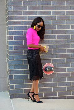 Pink and Black: Sweater over Pencil Skirt