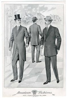 Plate 006 - Costume Institute Fashion Plates - Digital Collections from The Metropolitan Museum of Art Libraries 1918 Fashion, Suit Fashion, Fashion History, Vintage Clothing, Vintage Men, Vintage Outfits, Morning Coat, Costume Institute, Edwardian Era