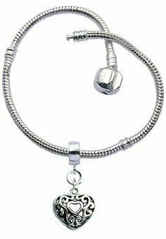 """Bracelet for Pandora Beads and charms by GlitZ JewelZ © - Silver plated - Size 8"""" (20cms) - comes with a 12MM (1/2"""") puff heart charm - fits all pandora / troll / chamilia beads - shines lovely GlitZ JewelZ. $2.99. Save 80%!"""