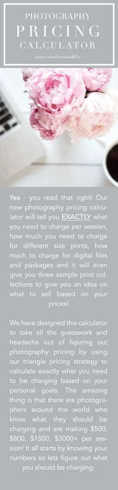 https://photography-classes-workshops.blogspot.com/ #Photography PHOTOGRAPHY PRICING CALCULATOR - It Calculates Everything For You Instantly! The pricing calculator is amazing!!! It is so quick and super easy to use and its amazing to see how things change just with a little adjustment. Going through the calculator I realized that Im not charging enough for all my packages (close but not enough)! Its very eye opening. And if I want to change my prices, EASY!!!! Just input the details i...