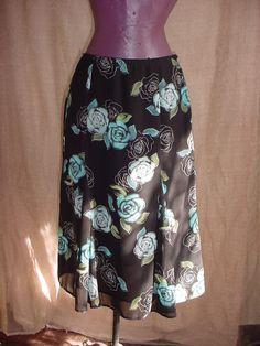 Croft and Barrow Skirt Black with Blue Floral size 8 Sheer Lined Mid-Calf  #CroftBarrow #ALine Seller florasgarden on ebay