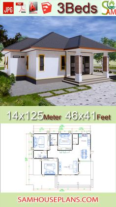 House Plans Feet Meter 3 Bedrooms Hip roof House Plans Feet Meter 3 Bedrooms Hip roof The House has: One-story house, 3 bedr House Layout Plans, House Plans One Story, Dream House Plans, Modern House Plans, Small House Plans, House Floor Plans, Story House, House 2, 3 Bedroom Home Floor Plans