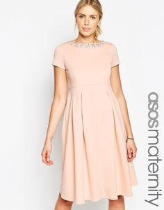 Classic Maternity Look: Blush Maternity Dress with Embellished Neckline from ASOS