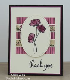 Pretty floral card made using papers from Share What You Love DSP and stamps from Love What You Do - full details plus supply list at SarahsInkSpot.com Sarah Wills Sarah's Ink Spot #sarahwills #sarahsinkspot #stampinup #papercraft #handmade #sharewhatyoulove #lovewhatyoudo #thankyoucard #card #floralcard #stitchedshapes