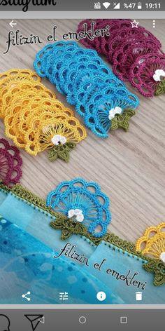 HUZUR SOKAĞI (Yaşamaya Değer Hobiler) Crochet Borders, Crochet Motif, Crochet Designs, Crochet Stitches, Knit Crochet, Crochet Patterns, Crochet Trim, Crochet Puff Flower, Crochet Ruffle