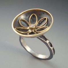 Ring | Anne Marie Cianciolo. Oxidized sterling silver, 18k gold, diamond