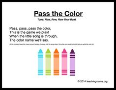 """10 Preschool Songs About Colors; I like this one, will change it to use the word """"pencil"""" in Kindergarten (pass/find)"""