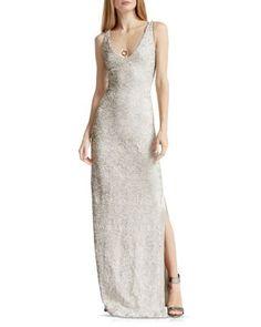 HALSTON HERITAGE Sequined Column Gown   Bloomingdale's