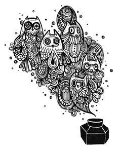 bottle of owl ink by *koyamori on deviantART