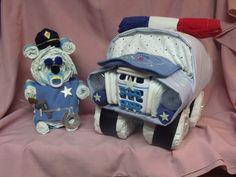 Police car and police bear diaper cake