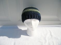 Boys Crochet Navy Hat with Green and Grey Stripes by CraftyColors